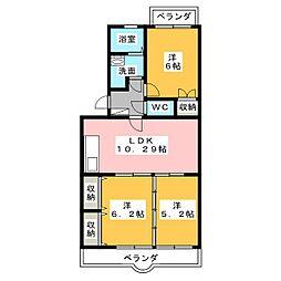 グランシャリオ新富士[3階]の間取り