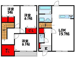 [テラスハウス] 福岡県宗像市土穴3丁目 の賃貸【/】の間取り