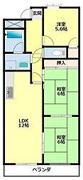 愛知県豊田市土橋町6丁目の賃貸マンションの間取り