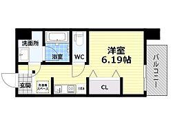 Osaka Metro四つ橋線 肥後橋駅 徒歩5分の賃貸マンション 7階1Kの間取り
