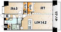 ニューリバー三萩野[9階]の間取り