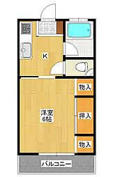 越戸町 1K アパート[2階]の間取り