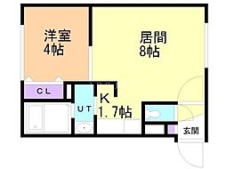 Bフラット創成川公園 4階1DKの間取り
