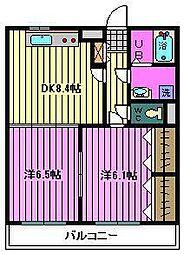 埼玉県川口市南鳩ヶ谷3丁目の賃貸マンションの間取り