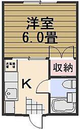 岡山県岡山市北区東古松3丁目の賃貸アパートの間取り