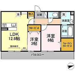 (仮)D-room厚南中央1丁目[202号室]の間取り
