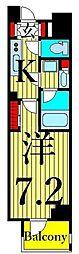 東京メトロ日比谷線 南千住駅 徒歩10分の賃貸マンション 13階1Kの間取り