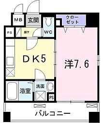 クレシア横浜山手 2階1DKの間取り