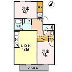 岡山県倉敷市西中新田丁目なしの賃貸アパートの間取り