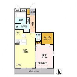 埼玉県熊谷市広瀬の賃貸アパートの間取り