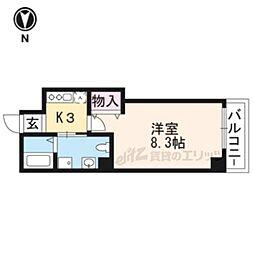 JR山陰本線 二条駅 徒歩19分の賃貸マンション 5階1Kの間取り
