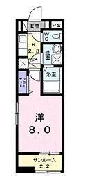 近鉄南大阪線 藤井寺駅 徒歩14分の賃貸アパート 2階1Kの間取り