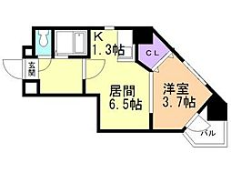 ・カルフール大通東[4階]の間取り