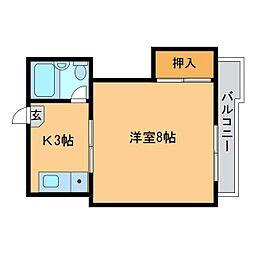広島県東広島市西条西本町の賃貸マンションの間取り