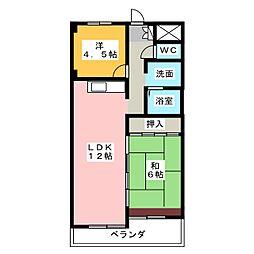 ハイツ平出[4階]の間取り
