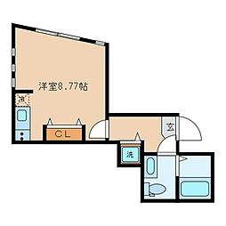 パークスデュオ吉祥寺 1階ワンルームの間取り