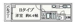 都営浅草線 戸越駅 徒歩1分の賃貸マンション 7階1Kの間取り
