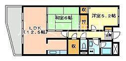 兵庫県三木市別所町小林の賃貸マンションの間取り