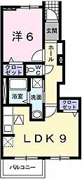 兵庫県たつの市龍野町日山の賃貸アパートの間取り