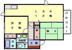 ブルーバレー花見2[2階]の間取り