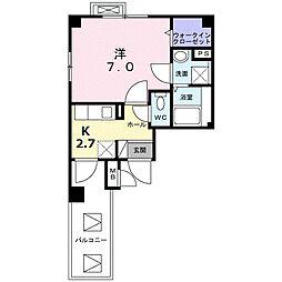 東急田園都市線 長津田駅 徒歩10分の賃貸マンション 5階1Kの間取り