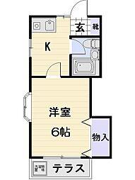 東京都調布市西つつじケ丘3の賃貸アパートの間取り