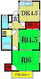 埼玉県越谷市大沢の賃貸アパートの間取り