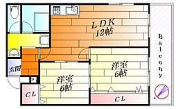 ハイツPリバー[4階]の間取り
