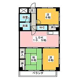 サンライトマンションIII[2階]の間取り