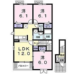 静岡県浜松市西区西都台町の賃貸アパートの間取り