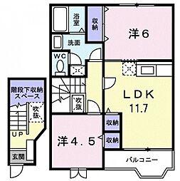 香川県観音寺市南町1丁目の賃貸アパートの間取り