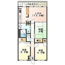 リブコートフェリス須磨山手台[2階]の間取り