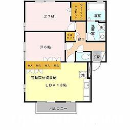 大阪府堺市北区南花田町の賃貸アパートの間取り