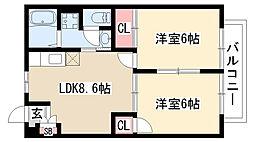 愛知県名古屋市緑区平手南2丁目の賃貸アパートの間取り