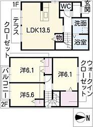 [タウンハウス] 愛知県日進市米野木台5丁目 の賃貸【/】の間取り