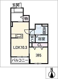 フラワーI[1階]の間取り