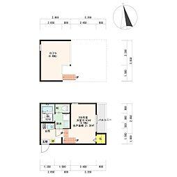 JR鹿児島本線 笹原駅 徒歩9分の賃貸アパート 2階1Kの間取り