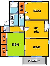 栃木県宇都宮市上戸祭4丁目の賃貸アパートの間取り