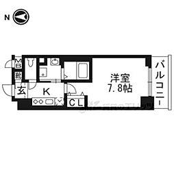 京都市営烏丸線 今出川駅 徒歩22分の賃貸マンション 6階1Kの間取り