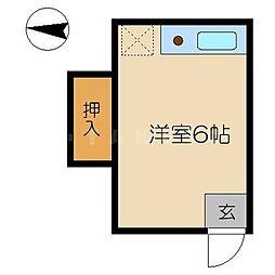 ハマダハウス 3階ワンルームの間取り