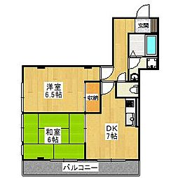 大阪府堺市東区南野田の賃貸マンションの間取り