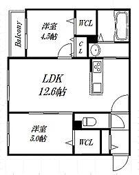 北海道札幌市豊平区平岸一条16丁目の賃貸マンションの間取り