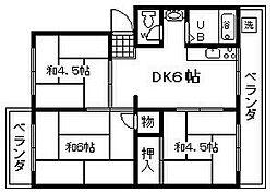 シーサイド貝掛マンションB棟 3階3DKの間取り
