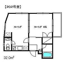 東京都渋谷区富ヶ谷2丁目の賃貸アパートの間取り