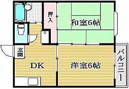 大阪府大阪市住之江区安立2丁目の賃貸アパートの間取り