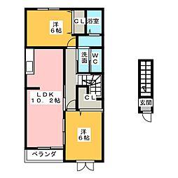 アバンツァートK A[2階]の間取り