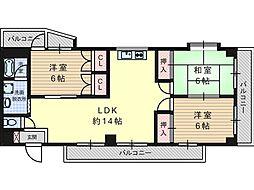 南平台ヤタヒルズII[2階]の間取り