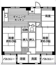 神奈川県横須賀市浦上台4丁目の賃貸マンションの間取り