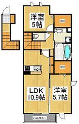 仮)D-room芋窪 B[2階]の間取り