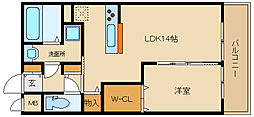 近鉄南大阪線 高鷲駅 徒歩5分の賃貸アパート 3階1LDKの間取り